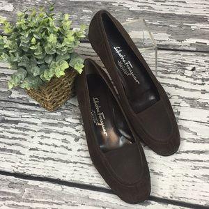 Salvadore Ferragamo Brown Suede Shoes - 7.5